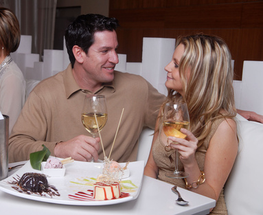 Attractive Young Couple eating out